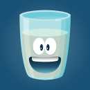 Vector stock funny glass of water cartoon character